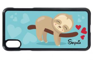 Personalised Beautiful Blue Cute Lazy Sloth Girls (Any Name) Design Mobile Phone Case To Fit iPhone